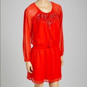Fiery Red Beaded Laurelle Blouson Dress